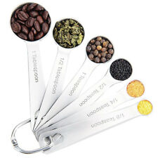 Stainless Steel Round Measuring Spoons for Dry and Liquid Ingredients Set of 6
