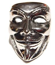 GUY FAWKES MASK RING V for Vendetta Anonymous Anon Alan Moore silver metal 10 3E