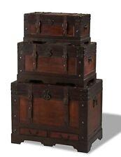 Lot de 3 Set coffres Kiras marron en bois möbeltruhe CAISSE rustique