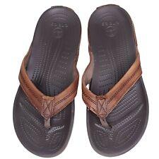 CROCS Men's YUKON Flip Flop Brown Leather Thong Sandals Size 9