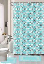 Fashion Dylan Blue 15-Piece Printed Bathroom Set Shower Curtain, Bath Mat, hooks