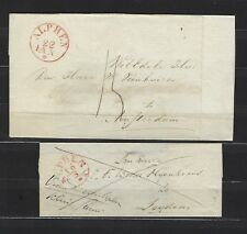 Netherlands: two (2) stampless covers originating in Alphen