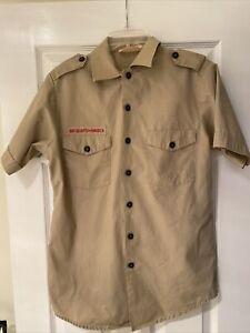 Boy Scout BSA UNIFORM SHIRT Mens Small Short Sleeve Tan I24