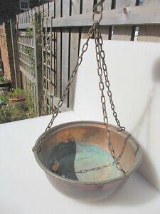 """Antique Basket Hanging Pot Vintage Trough Planter Plant Pot Tub Iron Chain 14""""W"""