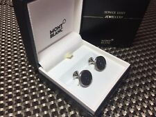 $345 MONTBLANC Monograin Steel Cufflinks with Leather Inlay