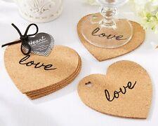 96 Sets of 4 Heart Cork Coasters Bridal Shower Wedding Favors