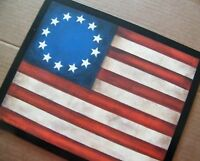 country Primitive American Flag Patriotic Rustic Americana decor wood Sign 9x11""