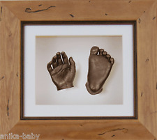 New Baby Christening Gift Set 3D Cast Kit Bronze Hand & Feet Rustic Pine Frame
