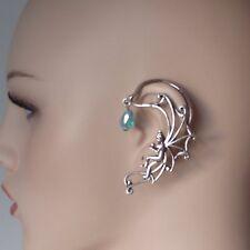 pince oreille boucle d'OREILLE VRILLE Buddha ange femme cristal bleu Goujon Punk