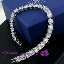 18K White GOLD GF Silver Wedding BRIDAL Bracelet with SWAROVSKI Lab DIAMOND S628