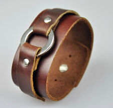 Cool Ring Wide Leather Bracelet Men's Wristband Brown