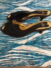 Vintage Fendi Shoes Size 10.5 40.5 Black Gold Sandal Heels Slides *READ