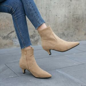 Women Fashion Ankle Boots Pointed Toe Kitten Heels Suede Shoes Side Zip Party Sz