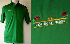"VTG Antigua of Scottsdale ""Kentucky Derby"" Green S/S Poly/Cotton Polo Shirt M"