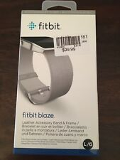 NEW Genuine OEM Fitbit Blaze Leather Accessory Band and Frame Large Mist Gray
