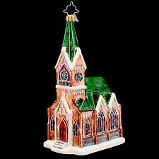 RADKO Sunday Blessings Church Beautiful Glass Ornament  Made in Poland