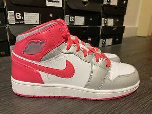 Nike Air Jordan I 1 Mid 555112-109 White/ Pink/ Gray GS Size 6-7