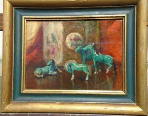 Green Horses Still Life Oil Painting 1920s/1930s-Eleanor Modrakowska (1879-55)