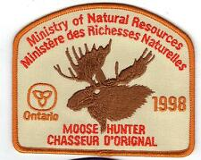 1998 ONTARIO MNR MOOSE HUNTER PATCH-MICHIGAN DNR DEER-BEAR-ELK-CREST-BADGE-FISH