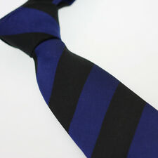 Coachella Silk Tie Blue and Black Diagonal Striped Necktie Classic Formal Tie