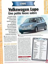 Volkswagen Lupo  1999  GERMANY DEUTSCHLAND ALLEMAGNE Car Auto FICHE FRANCE