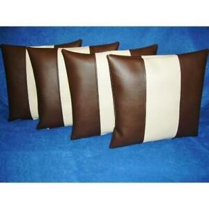 NOORA 100% Lambskin White & Dark Brown Leather Pillow Cover Square Strip Cover