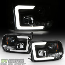 Black 2009-2018 Dodge Ram 1500 2500 3500 LED Tube Projector Headlights Headlamps
