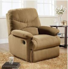 Small RV Recliner Chair Wall Adjustable Overstuffed Furniture Wide Arm Tan Plush