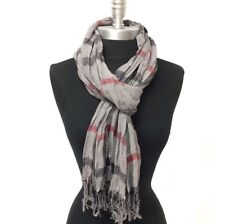 Lot Of Two Fashion Scarves Soft Crinkle Style Shawl Long Scarf WRAP Gray White