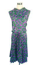 JENA Vintage Dress - Flower Power Retro Pleat Tie Belt Floral Purple Green - 14