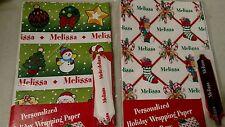 Personalized gift wrap wrapping Christmas xmas NIP Melissa 2 Sheets