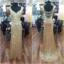 Long Formal Evening Dress V Neck Beaded Pageant Prom Party Gown Size Custom made