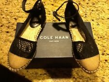 COLE HAAN NOOMI ESPADRILLE BLACK LACE MESH FLAT- EXCELLENT CONDITION-7,5 B