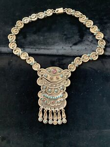 Large Taxco Mexico Sterling Silver Necklace Turquoise Coral Amethyst MATL Style