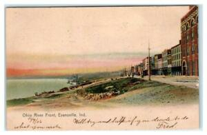 EVANSVILLE, IN Indiana ~ STREET SCENE by the Ohio RIVER FRONT 1906  Postcard