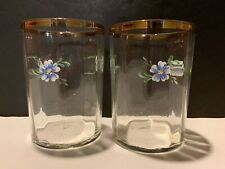 Set Of 2 Gold Rim Glasses With Hand Painted Flowers Excellent Condition 8 Oz