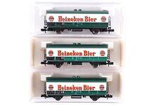 """3x Fleischmann N 8325 Bierwagen """"Heineken Bier"""" der NS """"3549"""