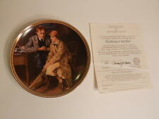 """Edwin M Knowles China Co """"Confining In The Den"""" Norman Rockwell plate # With COA"""