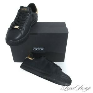NIB Versace Jeans Couture Black Pebbled Leather Gold Coin Low Medusa Sneakers 45