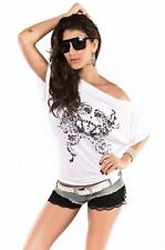 Femmes Blanc Top Tribal Printed Dolman Manches Taille UK 8 To 10
