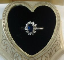 18k Sapphire Diamond Ladies Ring (j359)
