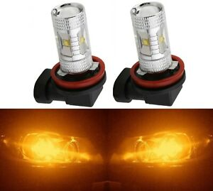 LED 30W H11 Orange Amber Two Bulbs Fog Light Replacement Plug Play Show Use