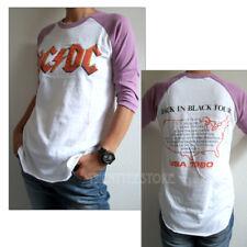 Junk Food ACDC Destroyed Finish Color Block Raglan t-shirt Back in Black Tour 80
