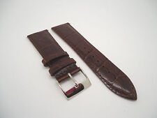 24 mm 24mm Brown Leather Band Strap with Silver Stainless Steel Buckle