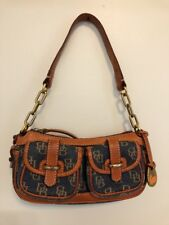 Dooney & Bourke Handbag Denim And Leather DB LOGO Two Front and Back Pockets