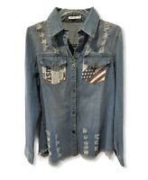 Denim Chambray Shirt Jacket Distressed Tunic Frayed Flag Button Down Size Large
