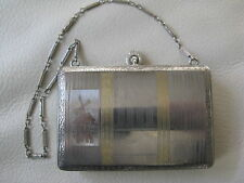 Antique Gold Silver Holland Dutch Scene Rotating Powder Card Case Compact FM Co