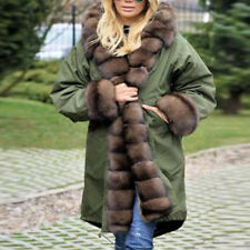 Women's Faux Fur Winter Jacket Parka Hooded Coat Fishtail Long Sleeves Overcoat