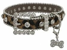 Showman Couture XSMALL LEOPARD Print Leather Dog Collar with Crystal Rhinestones