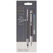 Parker Vector Fountain Pen + Ballpoint Pen Set, Black with Chrome Trim, Blue Ink